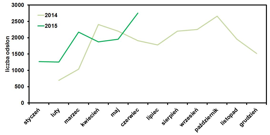 liczba odsłon bloga operator-paramedyk w czerwcu 2015