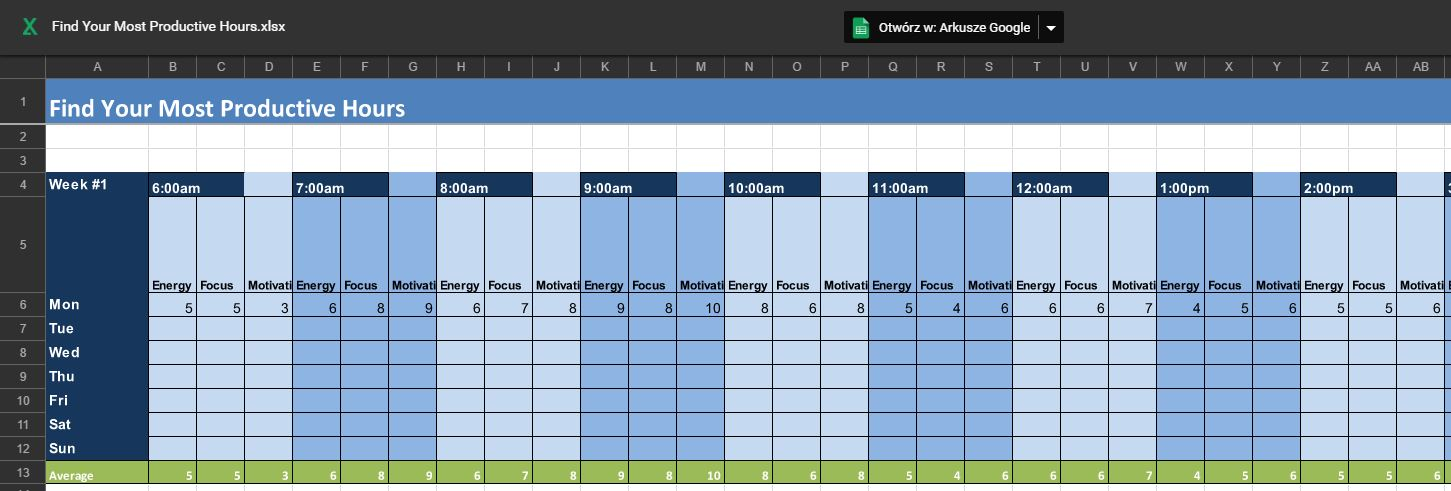Tak wygląda pusty arkusz do monitorowania Twojego cyklu dobowego.