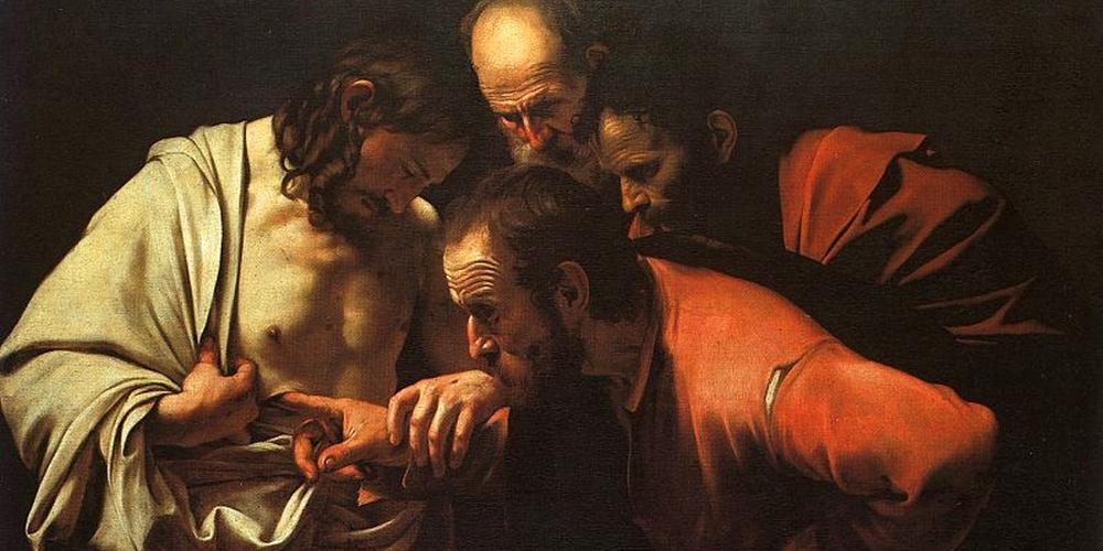 Wierzący niewierny Tomasz, obraz: Carravagiio CC-0